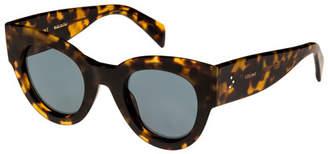 Celine Acetate Cat-Eye Adjusted-Fit Sunglasses, Medium Brown