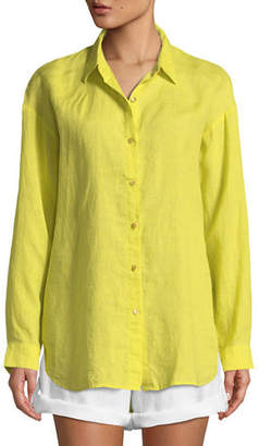 Eileen Fisher Organic Linen Boyfriend Shirt, Plus Size