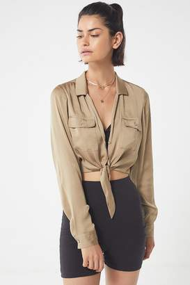 Urban Outfitters Logan Satin Tie-Front Button-Down Top