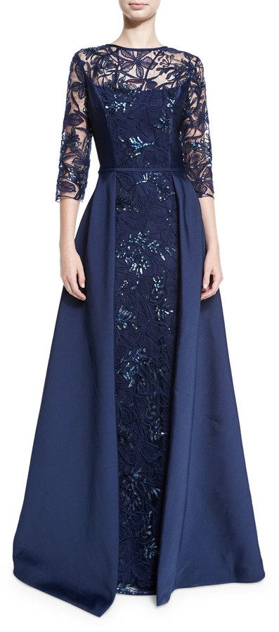 Rickie Freeman for Teri Jon 3/4-Sleeve Embellished Floral Tulle Ball Gown, Navy 3