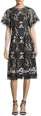 Rickie Freeman for Teri Jon Floral Embroidered Tulle Midi Cocktail Dress, Black $550 thestylecure.com