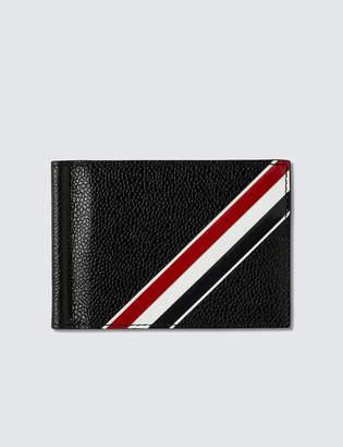 Thom Browne Money Clip Wallet W/ RWB GG Diagonal Intarsia Stripe In Pebble Grain