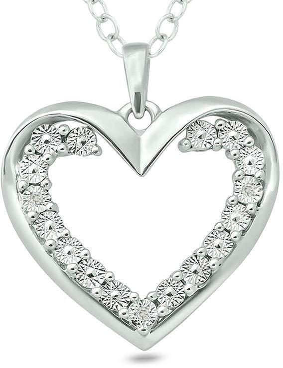 Zales Diamond Accent Heart Pendant in Sterling Silver