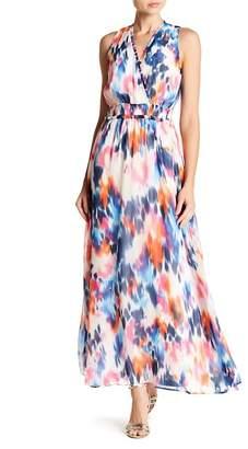 London Times Patterned Chiffon Maxi Dress