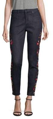 Elie Tahari Azella Embroidered Cropped Jeans