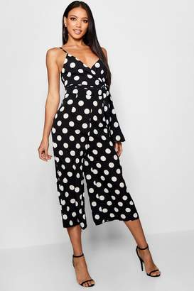 boohoo Large Polka Dot Culotte Twist Jumpsuit