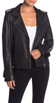 Bagatelle Leather Moto Ruffle Jacket