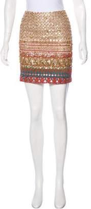 Oscar de la Renta Silk Sequin Skirt