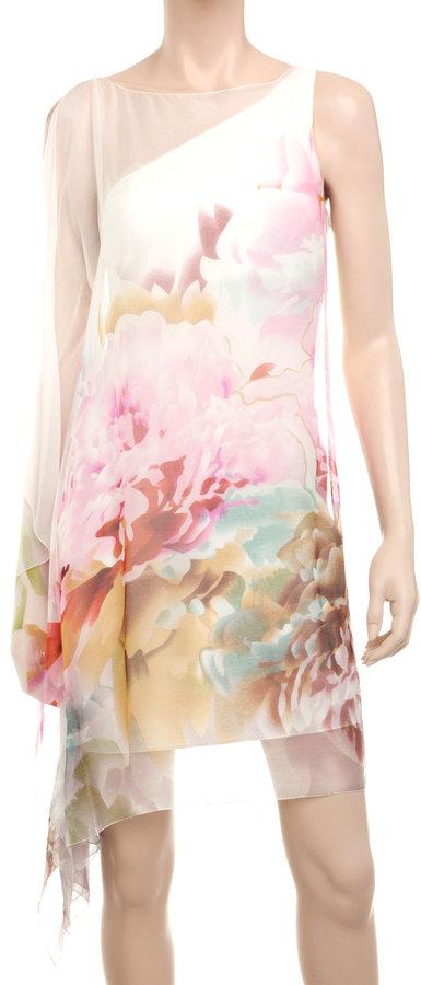 Max Studio Silk Chiffon Watercolour Dress