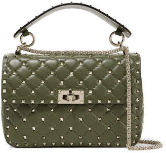 Valentino Garavani The Rockstud Spike Quilted Leather Shoulder Bag - Dark green