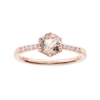 Lauren Conrad 10k Rose Gold Morganite & 1/10 Carat T.W. Diamond Ring