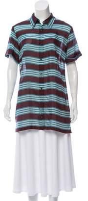 Dries Van Noten Silk Short Sleeve Printed Top