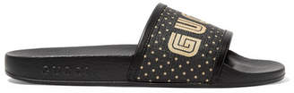 Gucci Leather-trimmed Logo-print Canvas Slides - Black