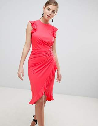 Little Mistress Wrap Midi Dress With Ruffle Detail