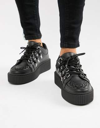 T.U.K. faux leather platform creepers with multi laces