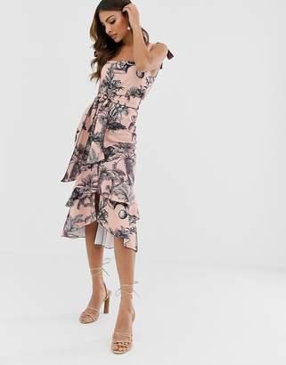 Asos Design DESIGN tie strap botanical floral pep hem midi dress