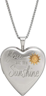 FINE JEWELRY Sterling Silver You Are My Sunshine Heart Locket Pendant Necklace