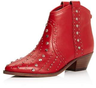 Sam Edelman Women's Brian Pointed-Toe Studded Leather Mid-Heel Booties