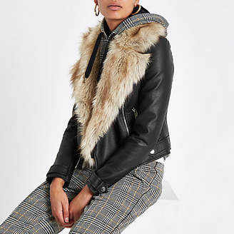 River Island Black faux fur trim biker jacket