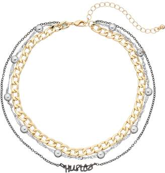 "Mudd Tri Tone ""Hustle"" Multi Strand Choker Necklace"