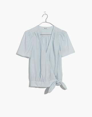 Madewell Short-Sleeve Wrap Top in Stripe