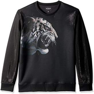 GUESS Men's Long Sleeve Embroidered Luther Tiger Crew