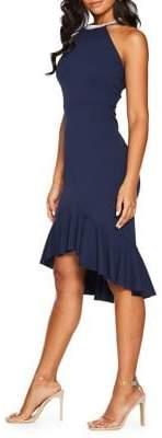Quiz Embellished Neck High-Low Dress