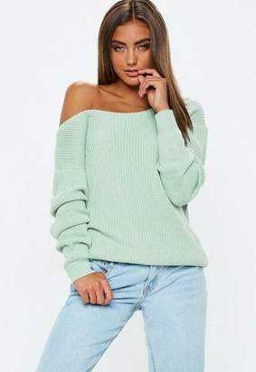 Missguided Mint Green Off Shoulder Knit Sweater