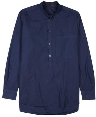 Barena Navy Grandad-collar Cotton Shirt