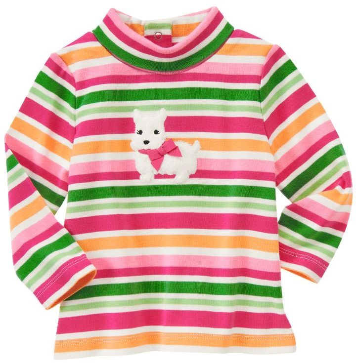 Westie Puppy Stripe Turtleneck Top