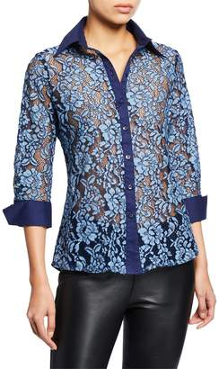 Neiman Marcus Sheer Lace Button-Down Blouse
