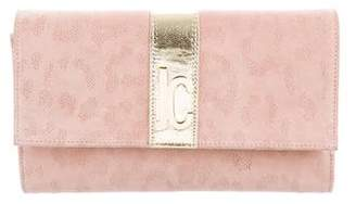 Just Cavalli Suede Leather-Trimmed Clutch