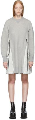 Sacai Grey Spongy Sweatshirt Dress
