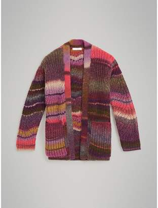 Burberry Rib Knit Wool Blend Cardigan