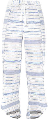 Lemlem Tiki Fly Away Embroidered Cotton-blend Gauze Pants - Azure