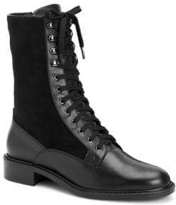 Aquatalia Brynn Leather& Suede Combat Boots