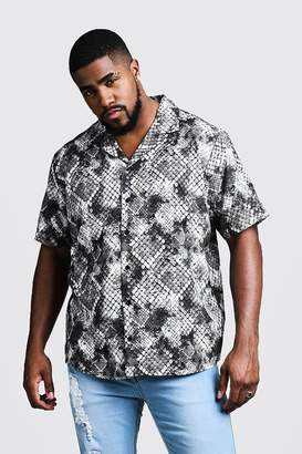 Big & Tall Snake Print Revere Collar Shirt