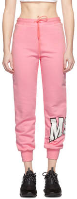 MSGM Pink Palm Tree Logo Lounge Pants