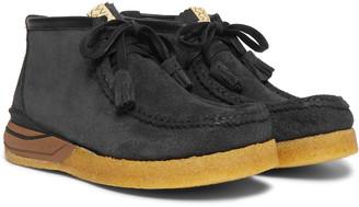 Visvim Beuys Trekker Folk Leather-Trimmed Suede Boots