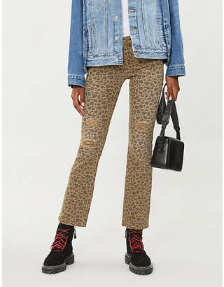 The Kooples Leopard-print flared mid-rise jeans