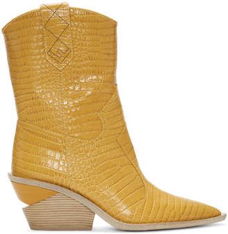 Fendi Yellow Croc Cowboy Boots