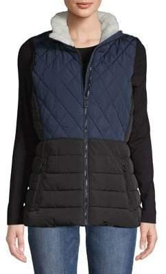 Calvin Klein Faux Fur-Trimmed Quilted Colorblock Vest