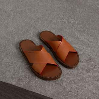Burberry Contrast Detail Leather Sandals , Size: 42.5, Brown