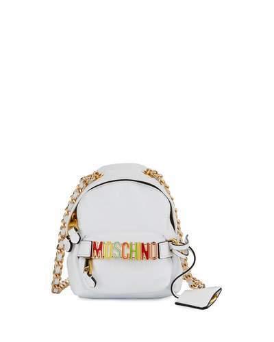 MoschinoMoschino Mini Leather Backpack-Shaped Crossbody Bag, White/Multi