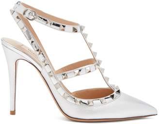 Valentino Rockstud metallic point-toe leather pumps