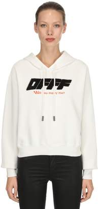 Off-White Flocked Cotton Jersey Sweatshirt Hoodie