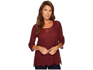Tribal 3/4 Sleeve Round Neck Embroidered Mesh Top w/ Scallop Hem Women's Long Sleeve Pullover