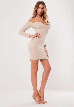 Missguided Stone Bardot Notch Front Bodycon Mini Dress