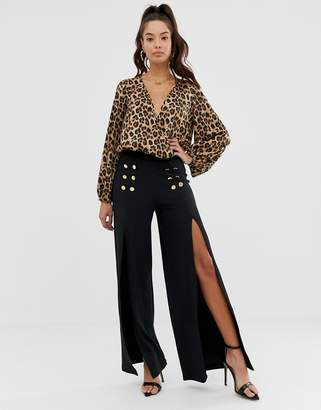Asos Design DESIGN wide leg trousers in jersey crepe with split and button detail