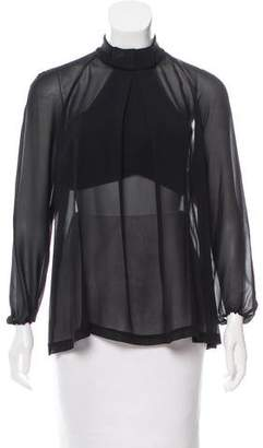 Robert Rodriguez Silk Mock Neck Top
